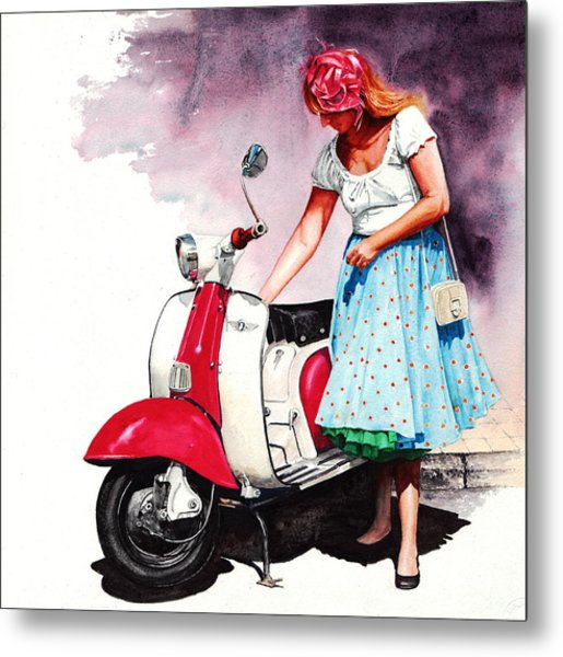 Fifties Lambretta Girl Metal Print