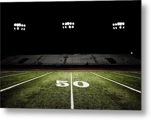 Fifty-yard Line Of Football Field At Metal Print by Jgareri