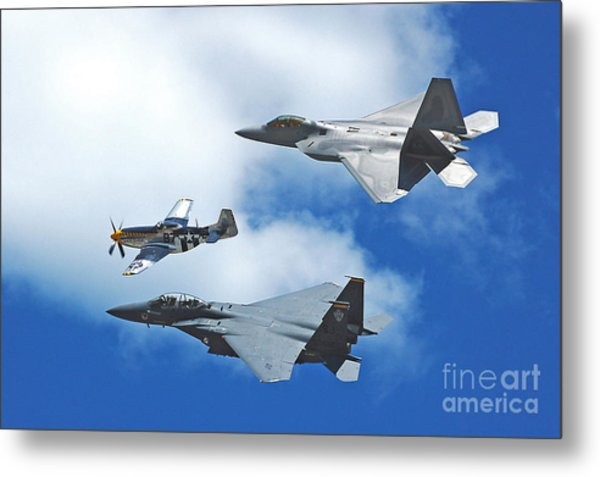 Fighter Jets Old And New Metal Print