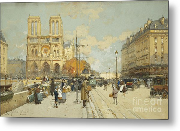 Figures On A Sunny Parisian Street Notre Dame At Left Metal Print