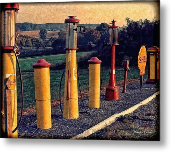 Fill 'er Up Vintage Fuel Gas Pumps Metal Print