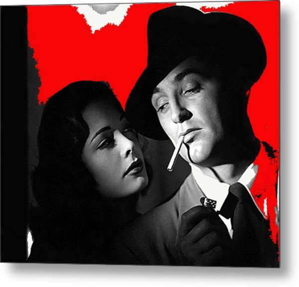 Film Noir Jane Greer Robert Mitchum Out Of The Past 1947 Rko Color Added 2012 Metal Print