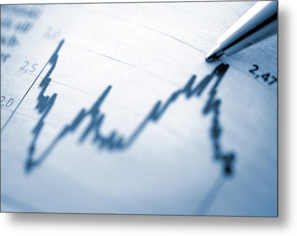 Finance Chart With High Peak On Document Metal Print by Deepblue4you