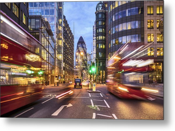Financial District In London At Dusk Metal Print by Xavierarnau