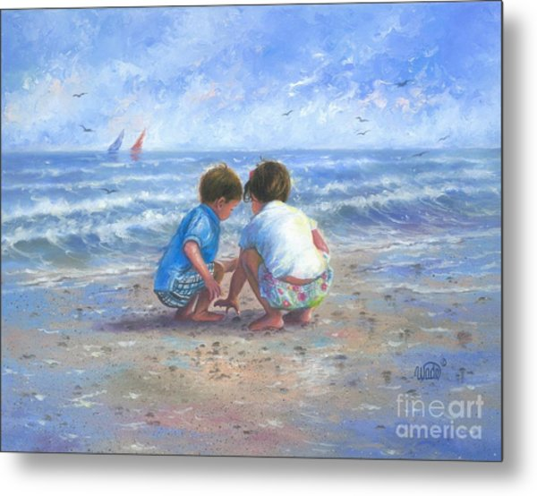 Finding Sea Shells Brother And Sister Metal Print