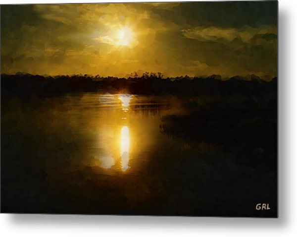 Fine Art Digital Painting Sunset Weeki Wachee Florida Metal Print