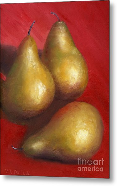 Fine Art Hand Painted Golden Pears Red Background Metal Print by Lenora  De Lude