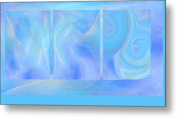 Fine Art Original Digital Abstract Untitled1bb4 As Blue Metal Print