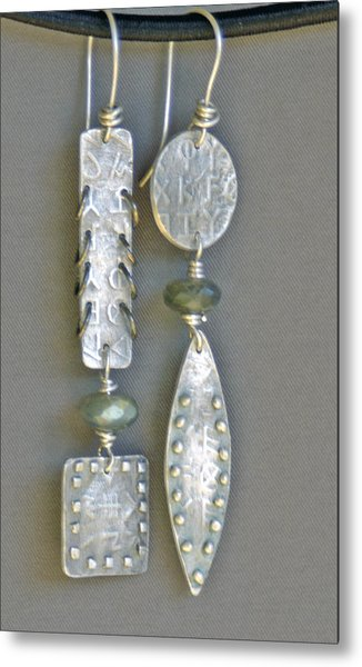 Fine Silver Mismatched Earrings Metal Print by Mirinda Kossoff