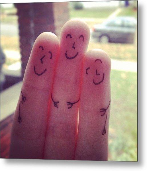 Fingers Hug Metal Print