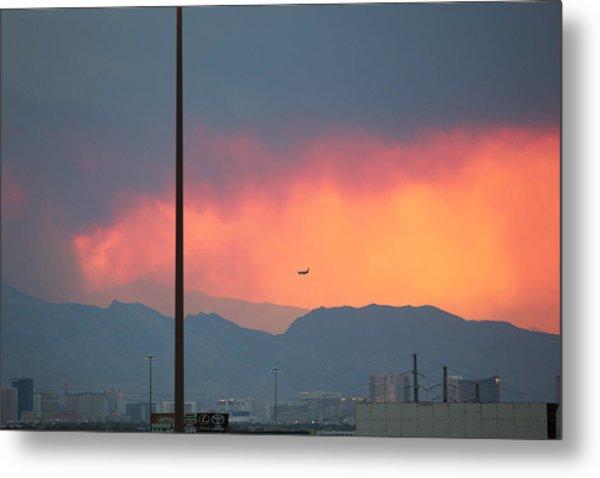 Fire Above Vegas Metal Print