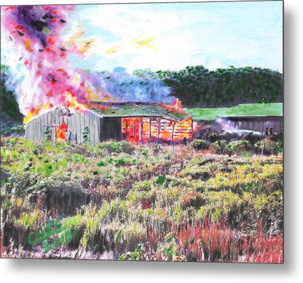 Fire At Whitney Beef Metal Print