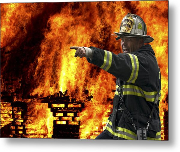 Fire Chief On The Scene Metal Print