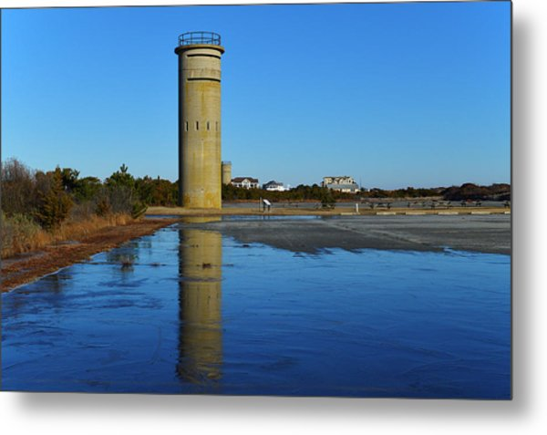 Fire Control Tower 3 Icy Reflection Metal Print