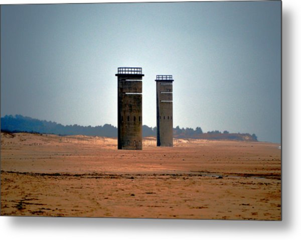 Fct5 And Fct6 Fire Control Towers On The Beach Metal Print