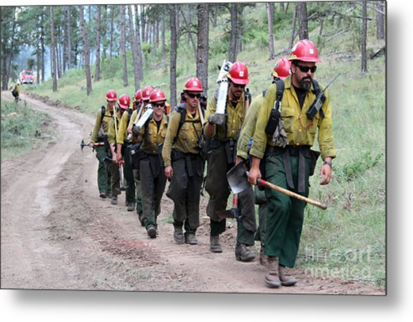 Fire Crew Walks To Their Assignment On Myrtle Fire Metal Print