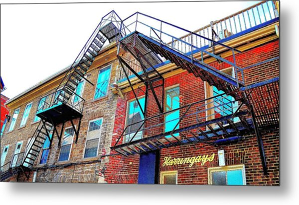 Fire Escape Reflections - Canada Metal Print