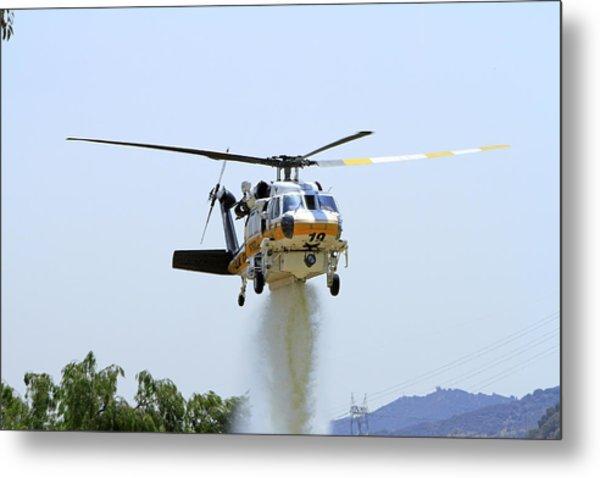 Fire Hawk Water Drop Metal Print