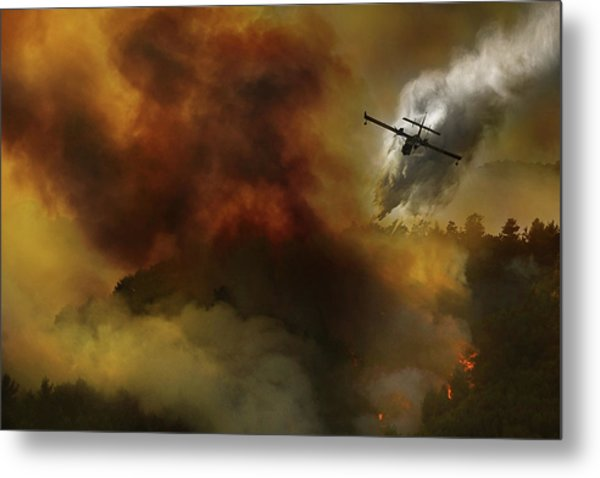 Fire In National Park Of Cilento (sa) - Italy Metal Print
