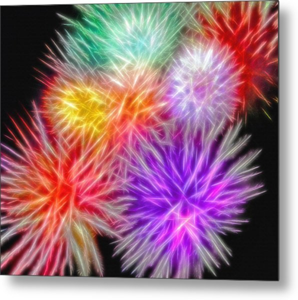 Fire Mums - Fireworks Collage 2 Metal Print by Steve Ohlsen