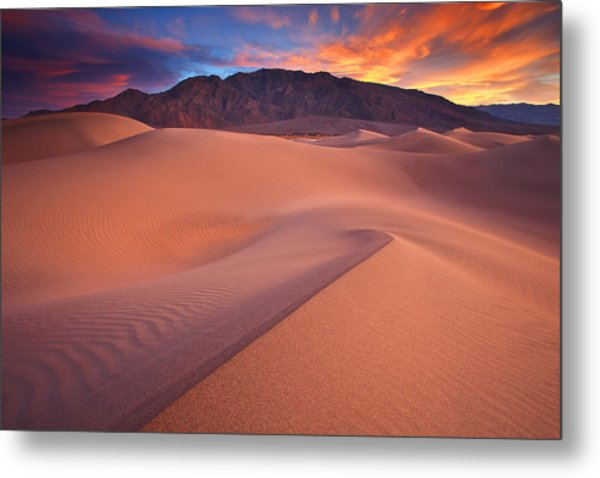 Fire On Mesquite Dunes Metal Print