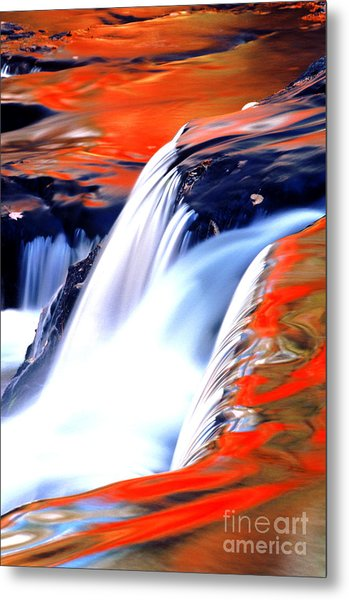 Fire On Water Fall Reflections Metal Print by Robert Kleppin