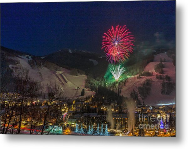 Fire Over Vail Metal Print