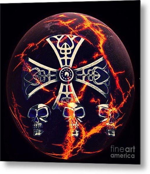 Fire Skulls Metal Print