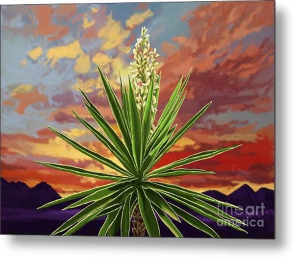 Fire Sky Desert Blooming Yucca Metal Print