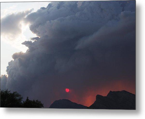 Fire Sunset Below Metal Print