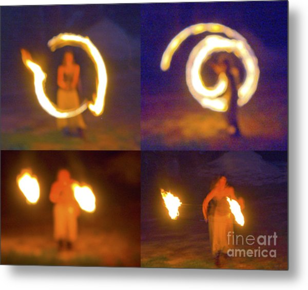 Fire Twirlers Metal Print