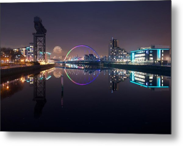 Fire Works Night Glasgow Metal Print