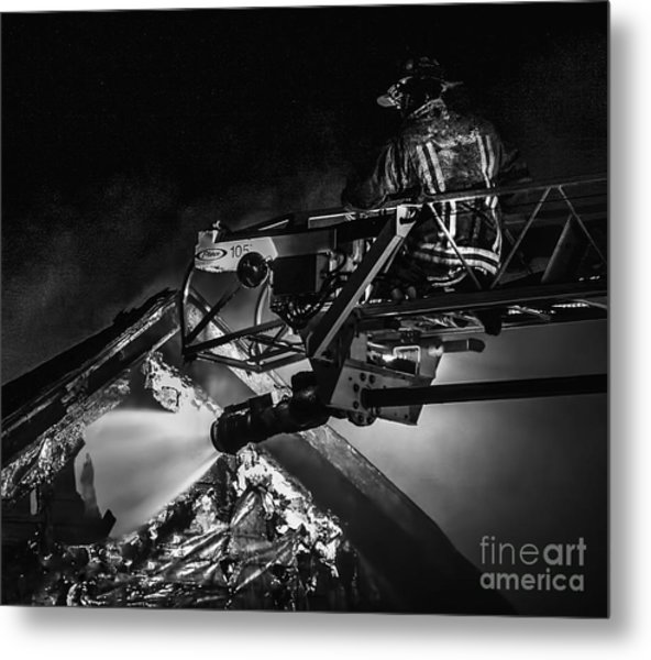 Firefighter At Work Metal Print