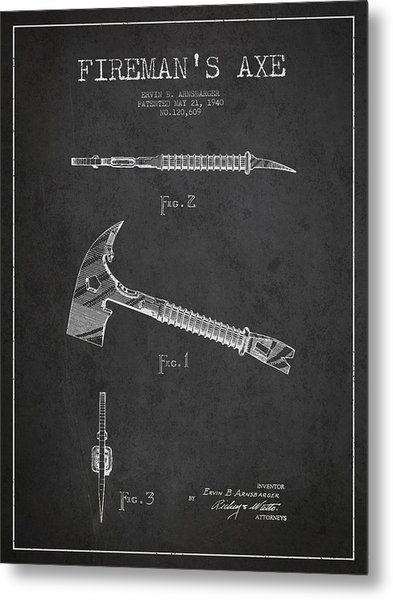 Fireman Axe Patent Drawing From 1940 Metal Print