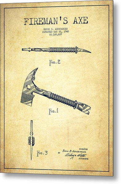 Fireman Axe Patent Drawing From 1940 - Vintage Metal Print