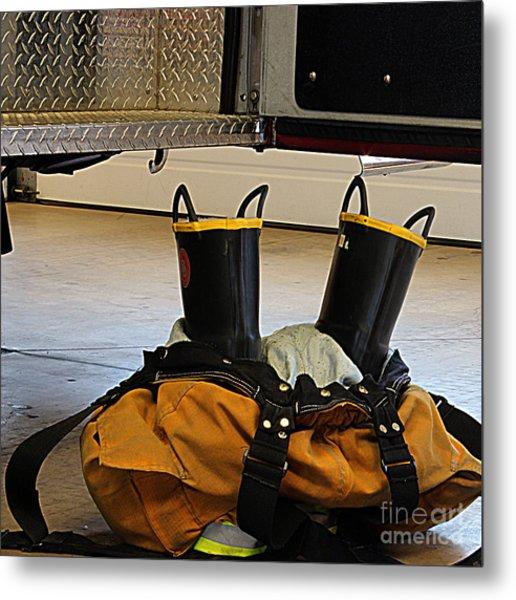 Fireman Ready To Go Metal Print