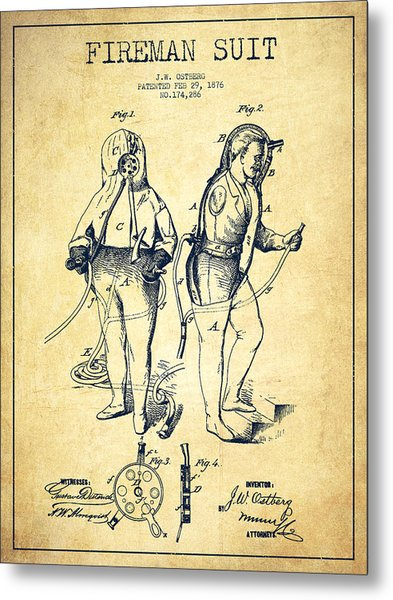 Fireman Suit Patent Drawing From 1826 - Vintage Metal Print