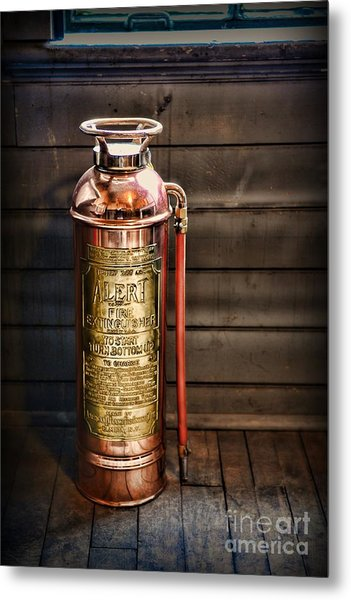 Fireman - Vintage Fire Extinguisher Metal Print