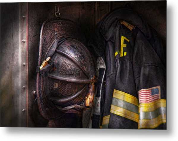 Fireman - Worn And Used Metal Print