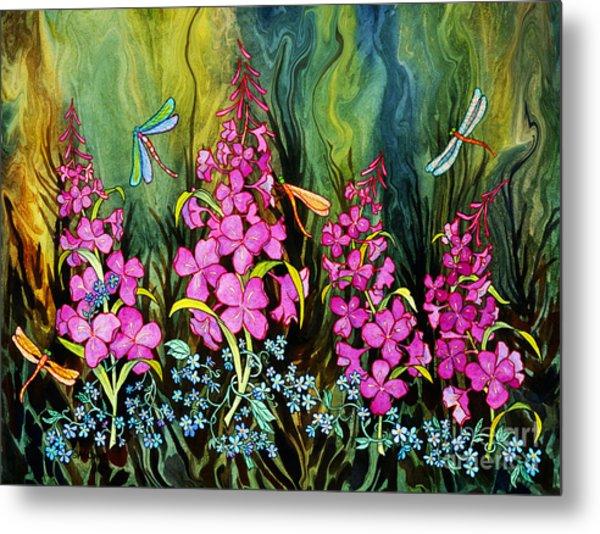 Fireweed And Dragonflies Metal Print