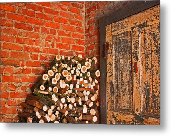 Firewood And Door Metal Print