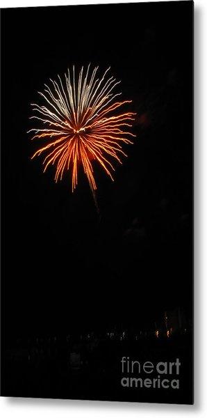 Fireworks - White And Orange Metal Print by Gayle Melges