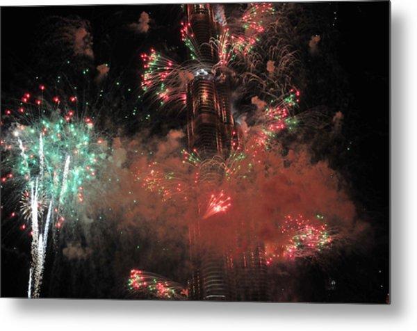Burj Khalifa Fireworks 6 Metal Print