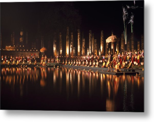 Fireworks At Festival In Thailand Metal Print by Richard Berry