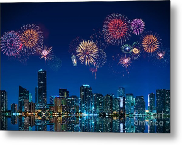 Fireworks In Miami Metal Print