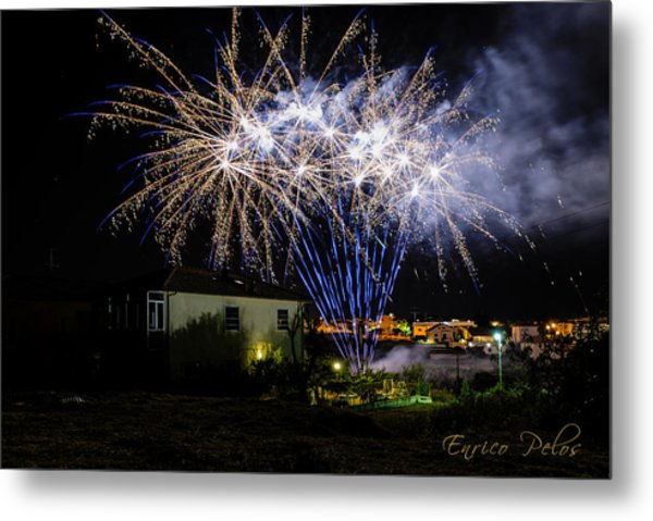 Metal Print featuring the photograph Fireworks In The Garden by Enrico Pelos
