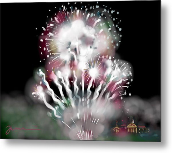 Fireworks On High School Hill Metal Print
