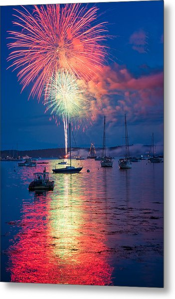Fireworks Over Boothbay Harbor Metal Print