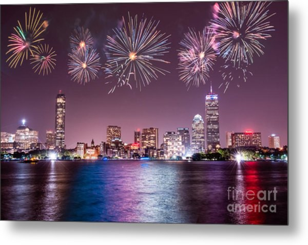 Fireworks Over Boston Metal Print