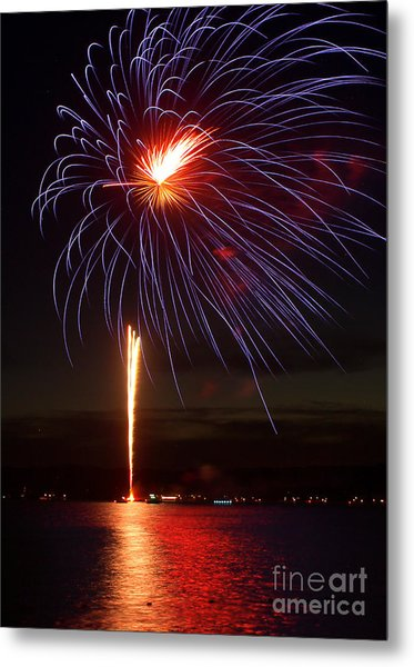 Fireworks Over Lake Metal Print